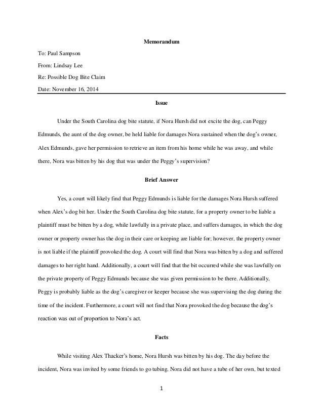 Legal Writing Sample