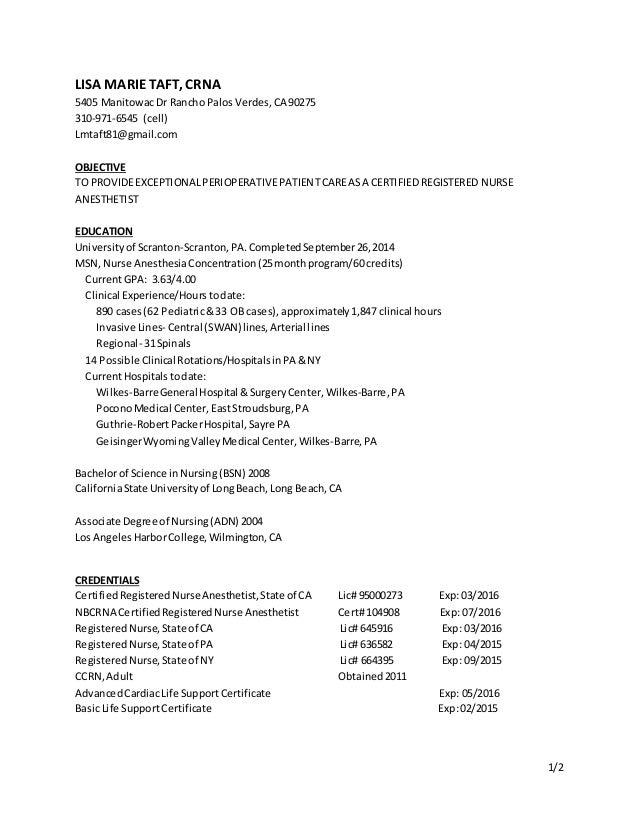Amazing 1/2 LISA MARIETAFT, CRNA 5405 ManitowacDr Rancho PalosVerdes,CA 90275 310   ... Regarding Crna Resume