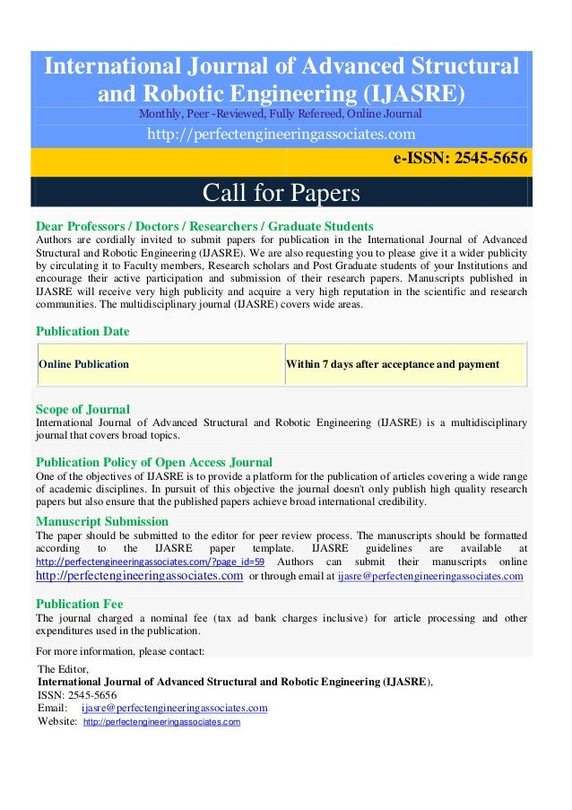 call for papers ijasre rh slideshare net Engineering Standards Engineering Office