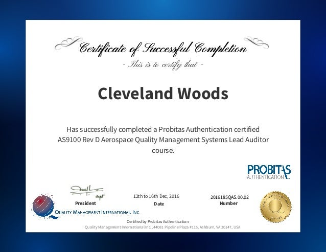 AS9100-9110 Certificate of Completion