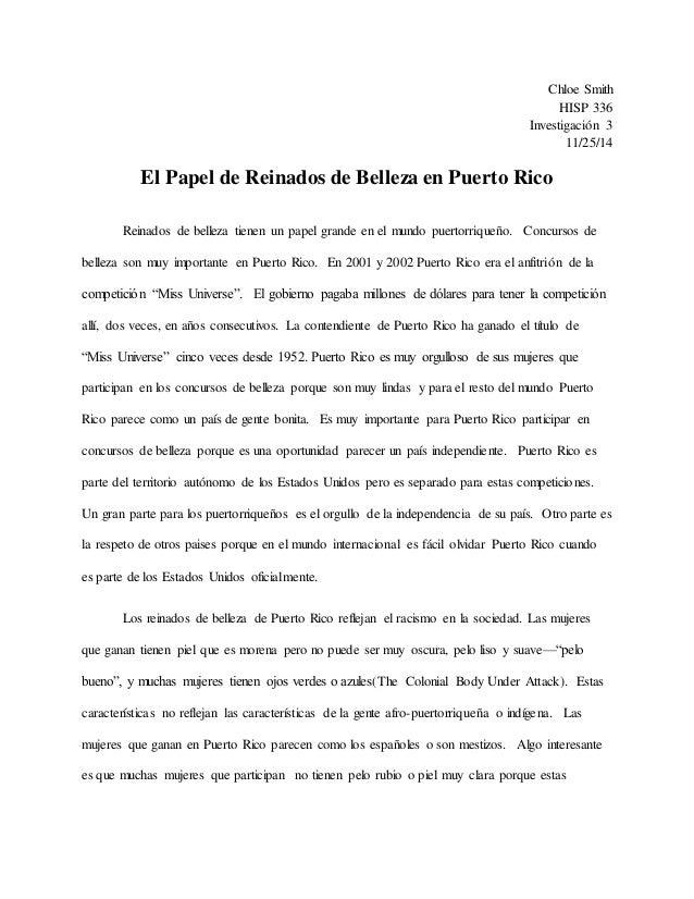 Chloe Smith HISP 336 Investigación 3 11/25/14 El Papel de Reinados de Belleza en Puerto Rico Reinados de belleza tienen un...