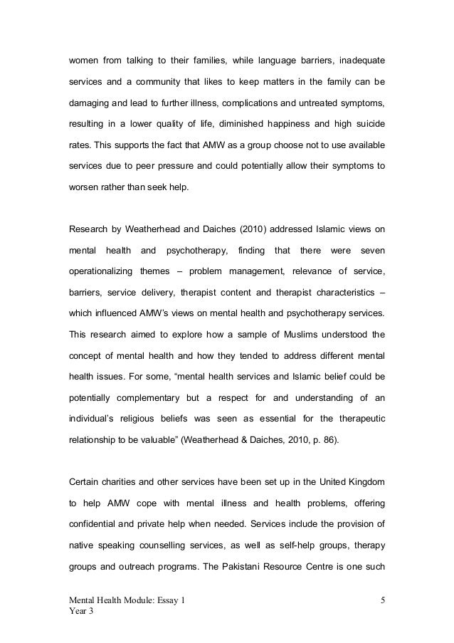 mentalhealthessay clean  mental health module essay  year