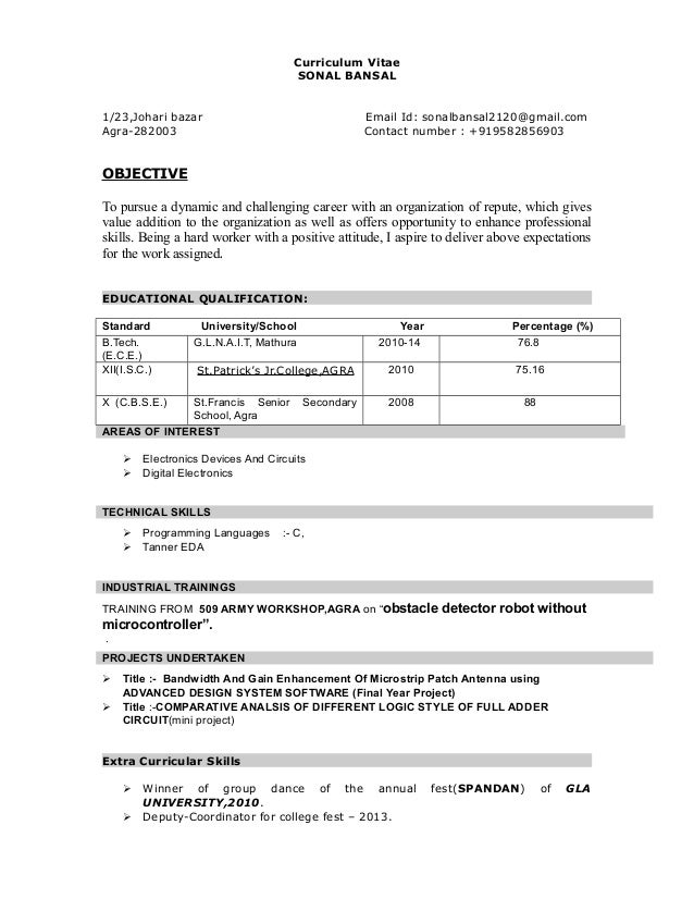 made easy sonal resume