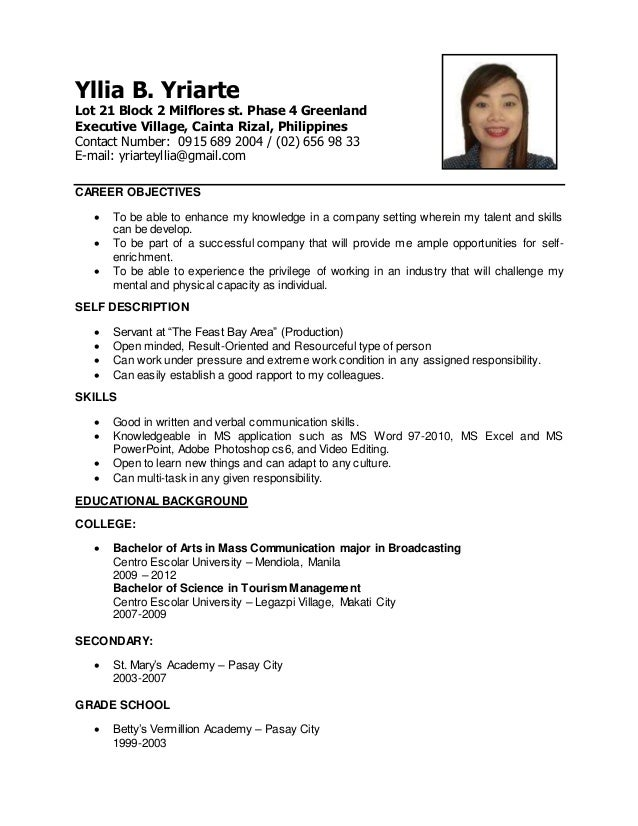 yllia b yriarte lot 21 block 2 milflores st phase 4 greenland executive village - Sample Resume Communications Major