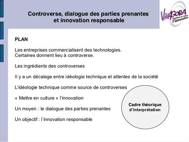 Controverse, dialogue des parties prenantes              et innovation responsablePLANLes entreprises commercialisent des ...