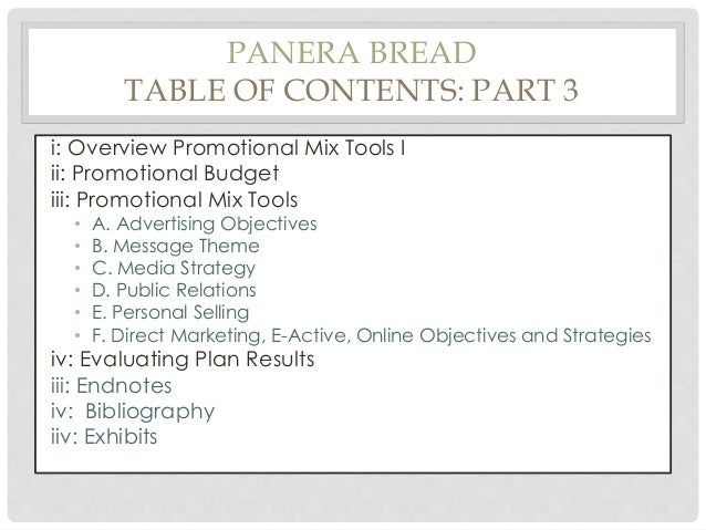 panera bread marketing mix proposal This is the official home page of the american angus association.
