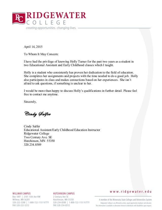 Holly Turner's Employment Letter