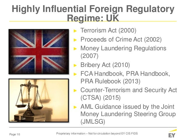 Page 10 Highly Influential Foreign Regulatory Regime: UK ► Terrorism Act (2000) ► Proceeds of Crime Act (2002) ► Money Lau...