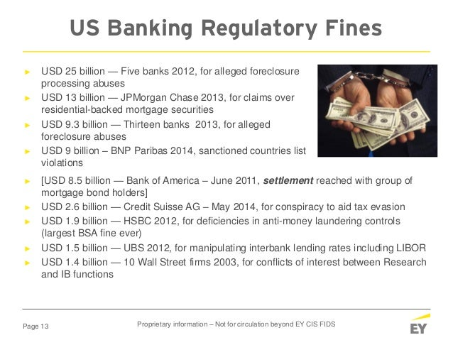 Page 13 ► USD 25 billion — Five banks 2012, for alleged foreclosure processing abuses ► USD 13 billion — JPMorgan Chase 20...