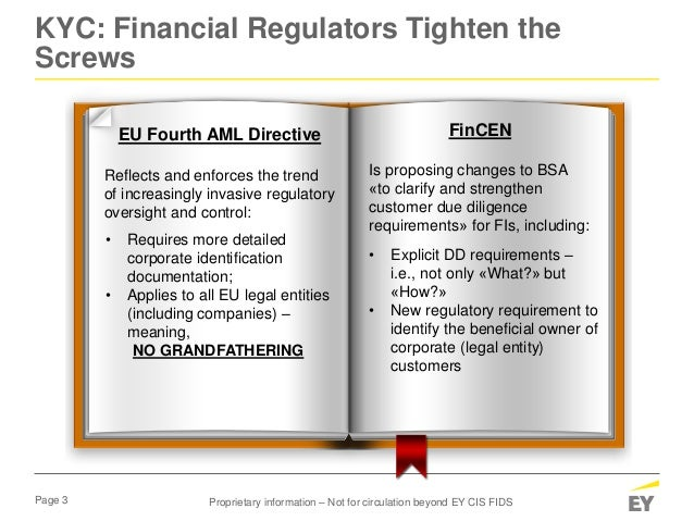 Page 3 KYC: Financial Regulators Tighten the Screws EU Fourth AML Directive Reflects and enforces the trend of increasingl...