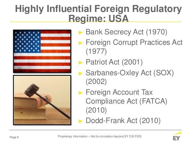 Page 9 ► Bank Secrecy Act (1970) ► Foreign Corrupt Practices Act (1977) ► Patriot Act (2001) ► Sarbanes-Oxley Act (SOX) (2...