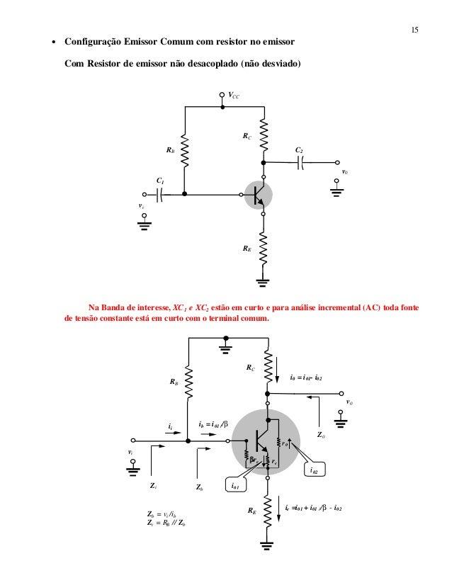 15 • Configuração Emissor Comum com resistor no emissor Com Resistor de emissor não desacoplado (não desviado) Na Banda de...
