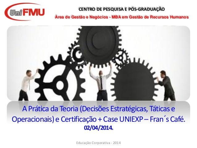 CENTRO DE PESQUISA E PÓS-GRADUAÇÃO Área de Gestão e Negócios - MBA em Gestão de Recursos Humanos APráticadaTeoria(Decisões...