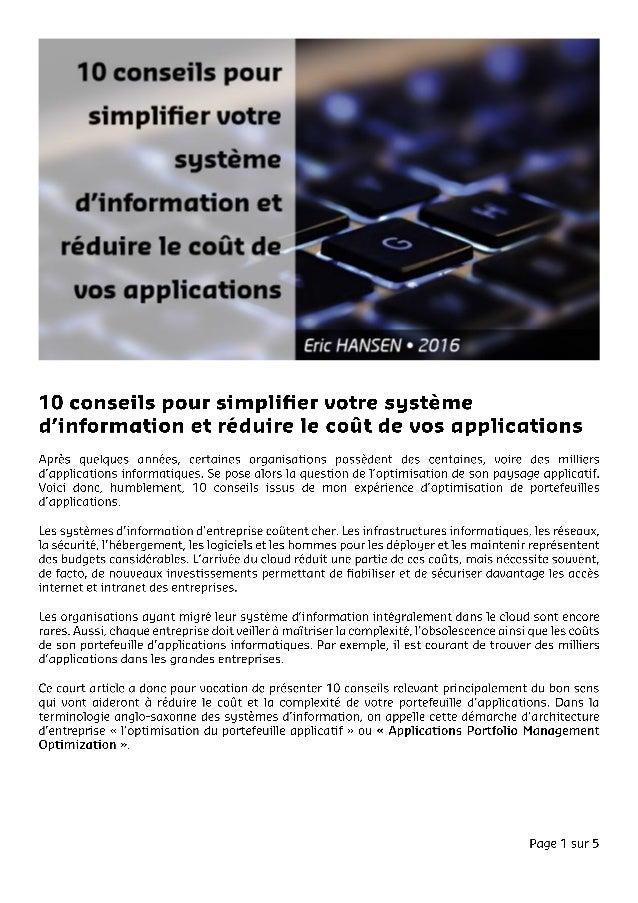 Eric HANSEN - Article - 10 conseils pour simplifier votre système d'information