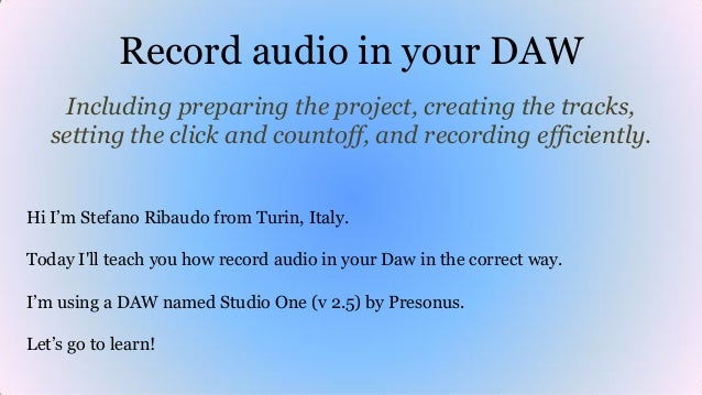 Record audio in your DAW Including preparing the project, creating the tracks, setting the click and countoff, and recordi...