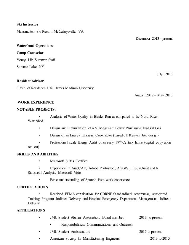 Ski resort resume