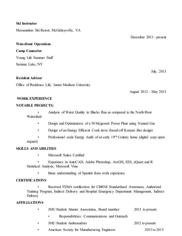 Ski resort resume