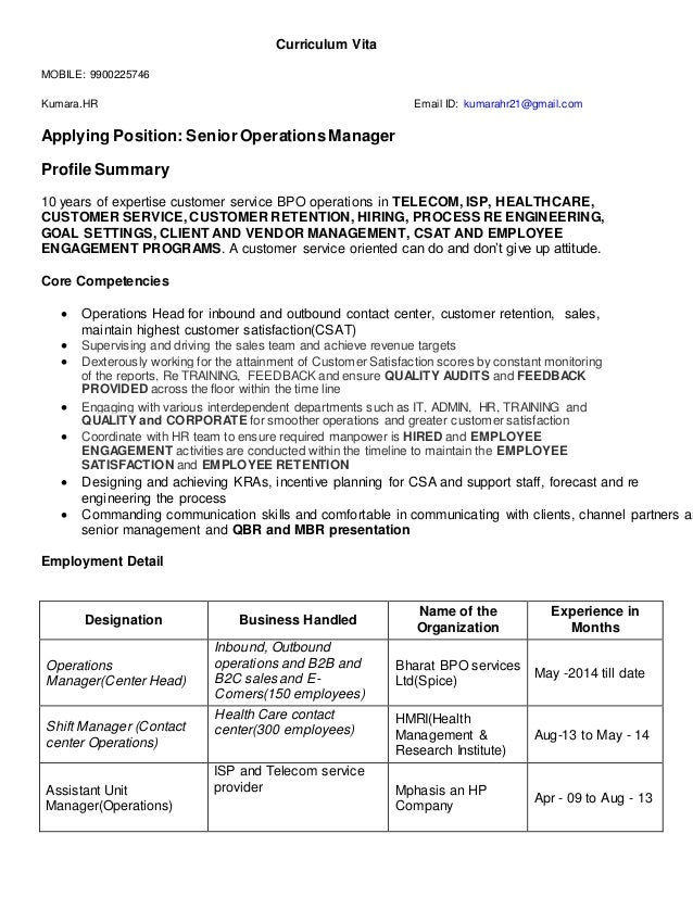 Resume For The Post Of Senior Operations Manager