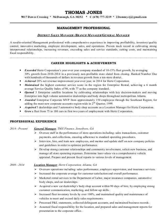 Jones, Thomas - Management Resume