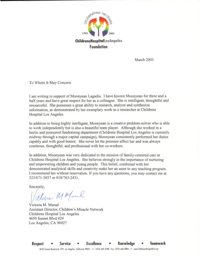 Moonyean Newman Letter Of Recommendation Victoria M