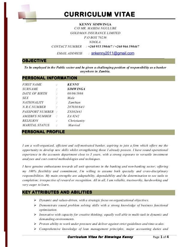 Curriculum Vitae Kenny Simwinga