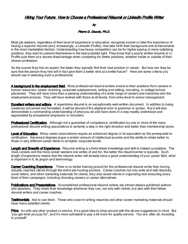 Choosing A Resume Writer