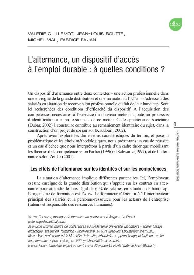 1 EDUCATIONPERMANENTEhors-sérieAFPA2014 Un dispositif d'alternance entre deux contextes – une action professionnelle dans ...