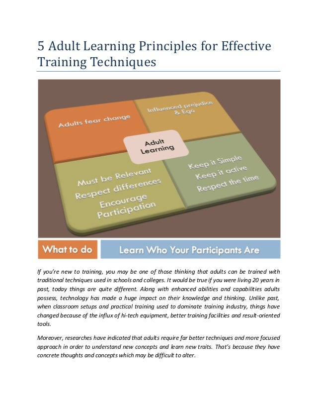 5 Adult Learning Principles for Effective Training Techniques If you're new to training, you may be one of those thinking ...