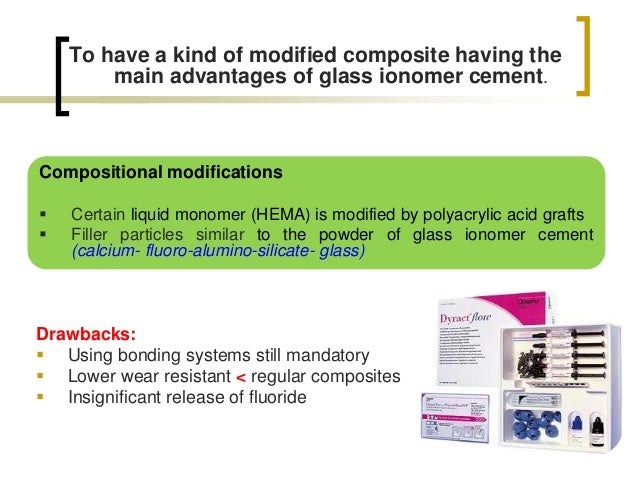 To have a kind of modified composite having the main advantages of glass ionomer cement. Compositional modifications  Cer...