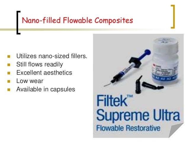 Nano-filled Flowable Composites  Utilizes nano-sized fillers.  Still flows readily  Excellent aesthetics  Low wear  A...