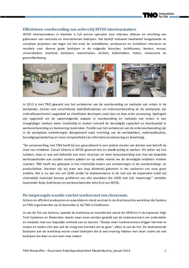 TNO Nieuwsflits Arbeidsproductiviteit Maakindustrie nr 6 januari 2014