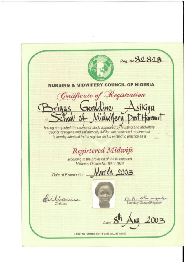 midwifery certificate