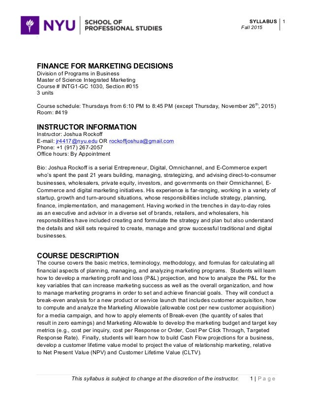 20150903 Intg1 Gc 1030 Finance For Marketing Decisions Rockoff