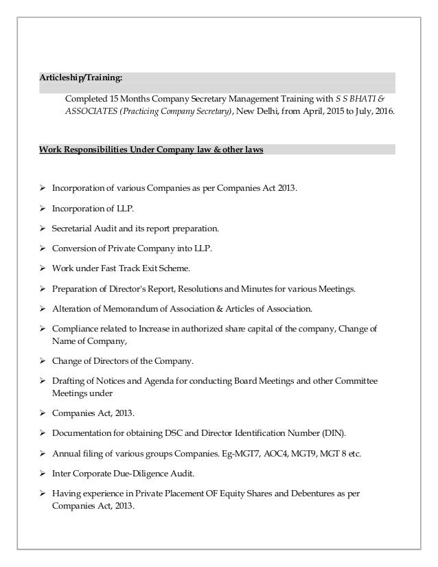cover letter for company secretary articleship