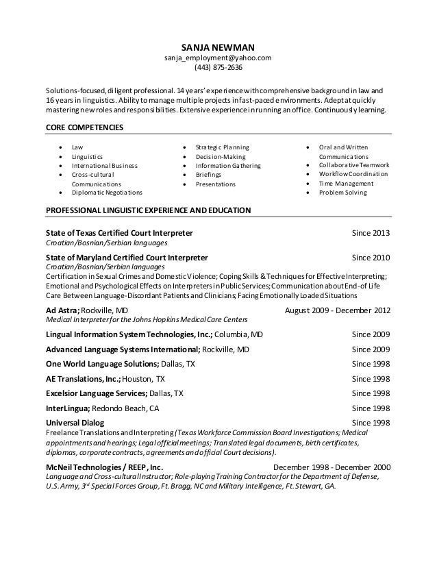 Linguist Resume Objective Professional Resume Templates