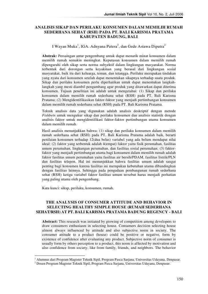 Jurnal Ilmiah Teknik Sipil Vol 10, No. 2, Juli 2006   ANALISIS SIKAP DAN PERILAKU KONSUMEN DALAM MEMILIH RUMAH    SEDERHAN...