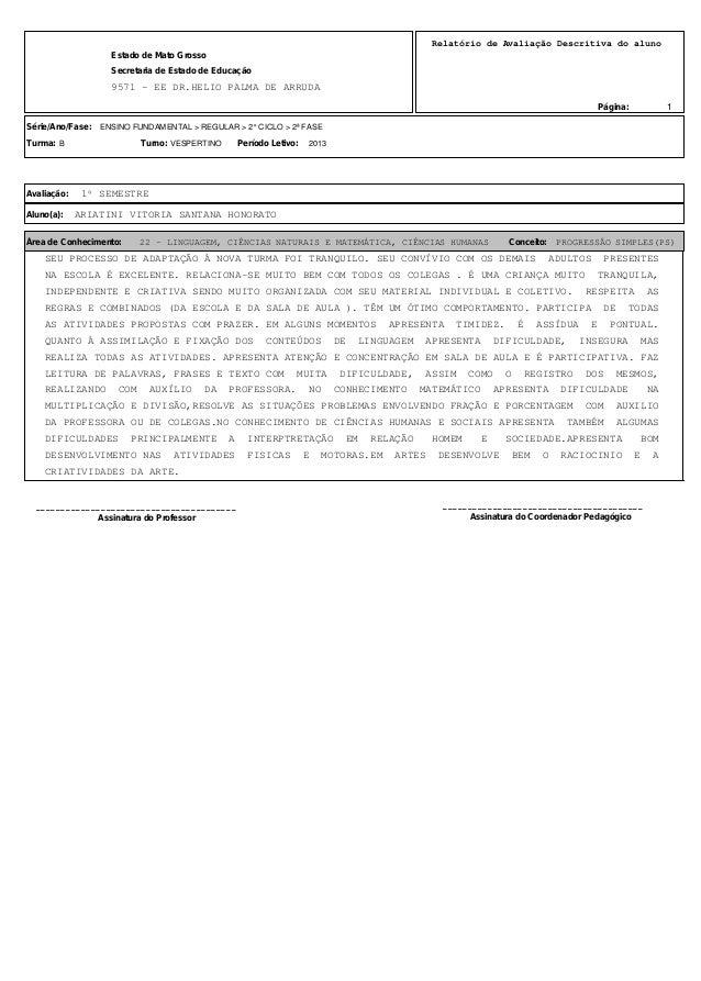 1 Relatório de Avaliação Descritiva do aluno 9571 - EE DR.HELIO PALMA DE ARRUDA Estado de Mato Grosso Secretaria de Estado...