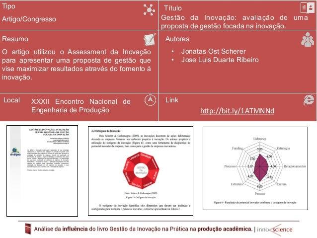 Tipo  Resumo  Utilização do Assessment da Inovação para  realizar um diagnóstico da situação atual da  Vitivinícola Almadé...