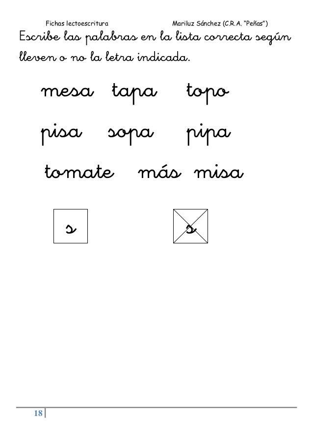 """Fichas lectoescritura Mariluz Sánchez (C.R.A. """"Peñas"""") 18 Escribe las palabras en la lista correcta según lleven o no la l..."""