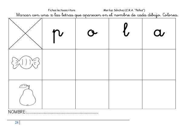 """Fichas lectoescritura Mariluz Sánchez (C.R.A. """"Peñas"""") 28 Marcar con una x las letras que aparecen en el nombre de cada di..."""