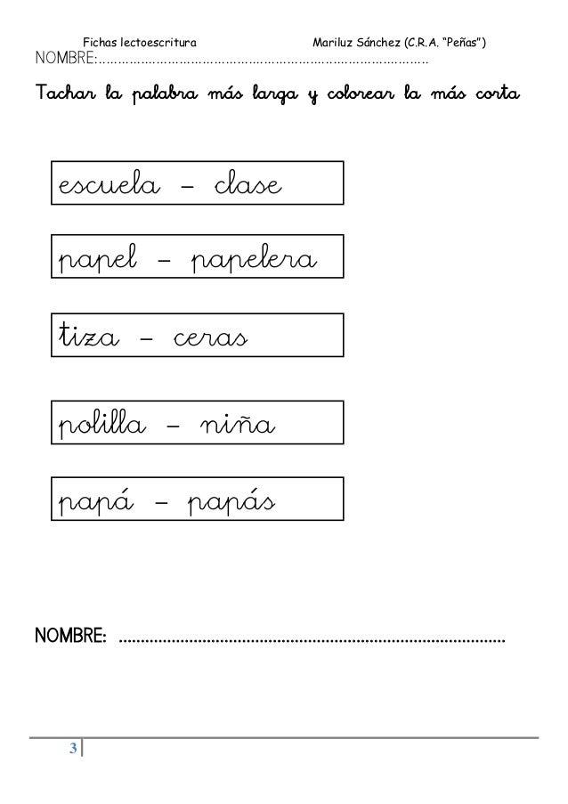FICHAS LECTOESCRITURA (5 años) Slide 3
