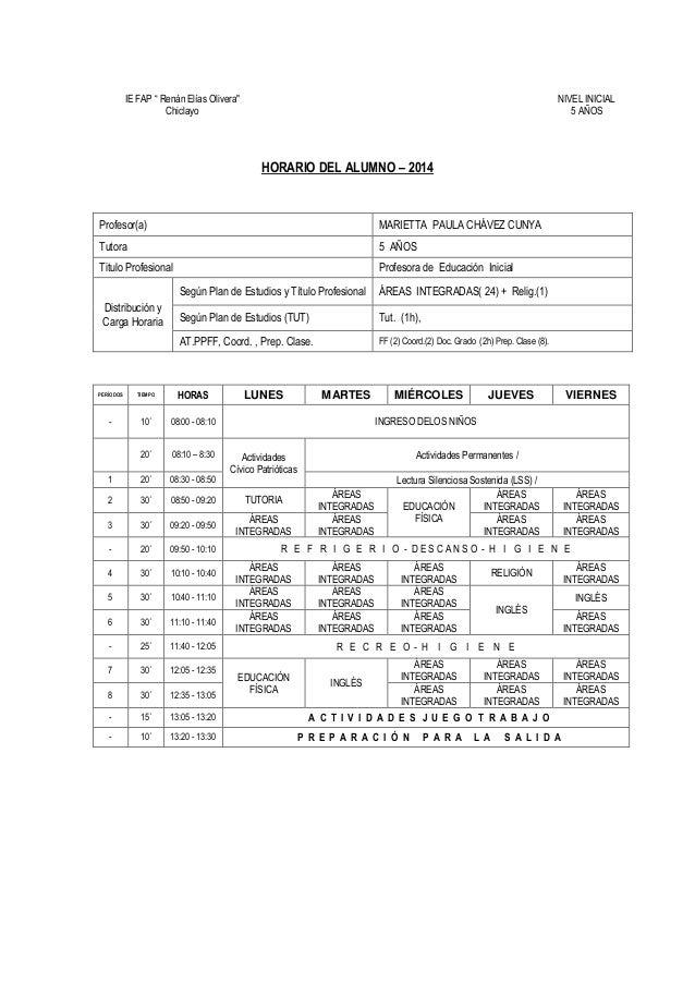 """IE FAP """" Renán Elías Olivera"""" Chiclayo NIVEL INICIAL 5 AÑOS HORARIO DEL ALUMNO – 2014 Profesor(a) MARIETTA PAULA CHÁVEZ CU..."""