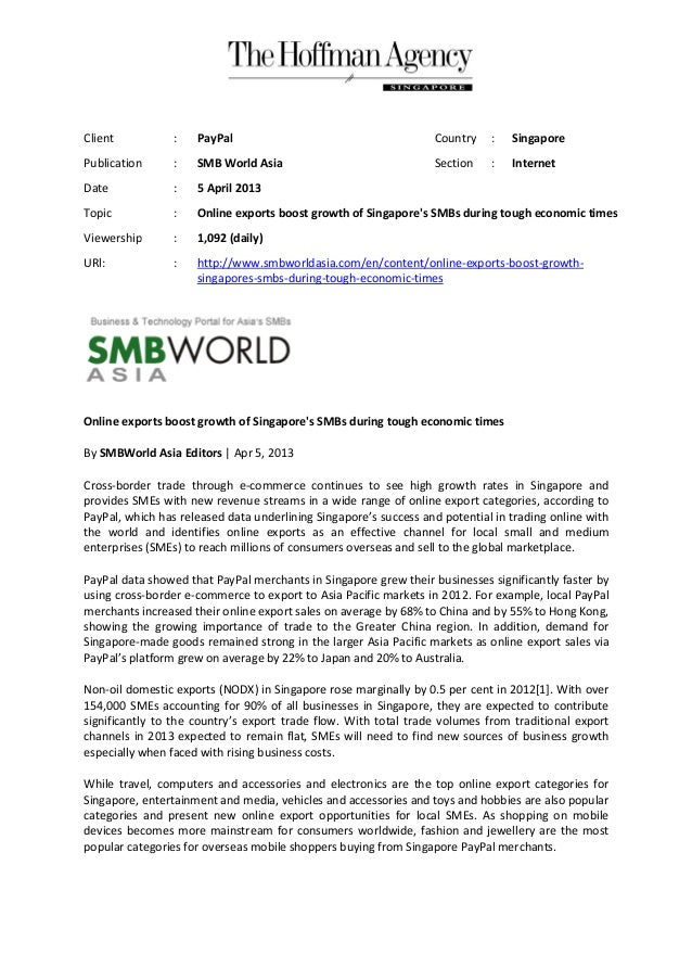 Client           :   PayPal                                       Country    :   SingaporePublication      :   SMB World A...