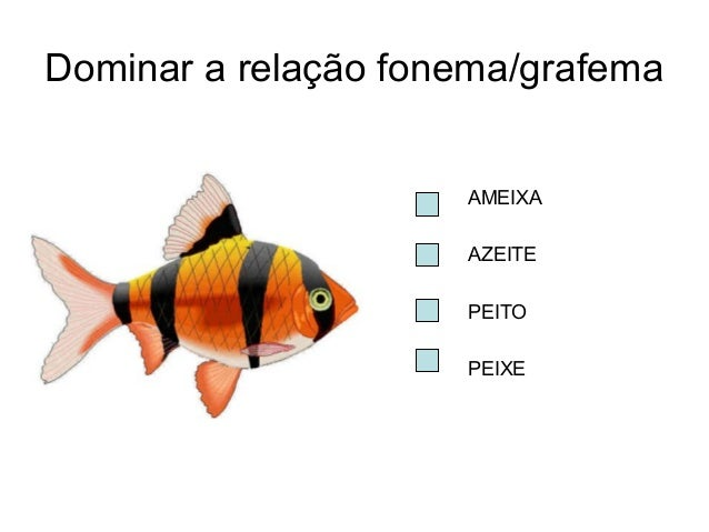 Dominar a relação fonema/grafema AMEIXA AZEITE PEITO PEIXE