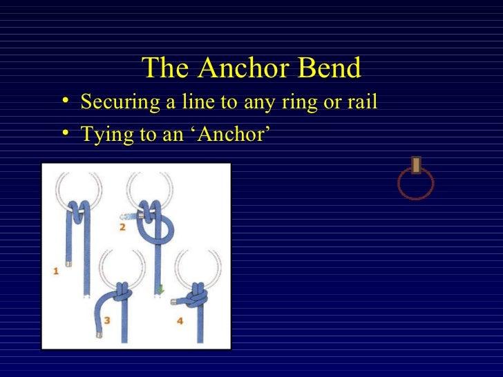 The Anchor Bend <ul><li>Securing a line to any ring or rail </li></ul><ul><li>Tying to an 'Anchor'  </li></ul>