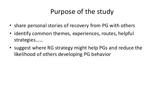 Dr. Richard Wood - Stories of Hope: How Personal Accounts of Recovery can Inform Responsible Gambling Strategy Slide 2