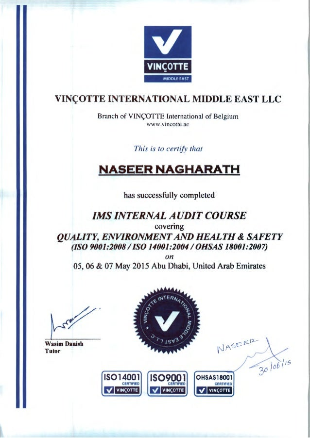 Naseer Ims Internal Audit Course Certificate
