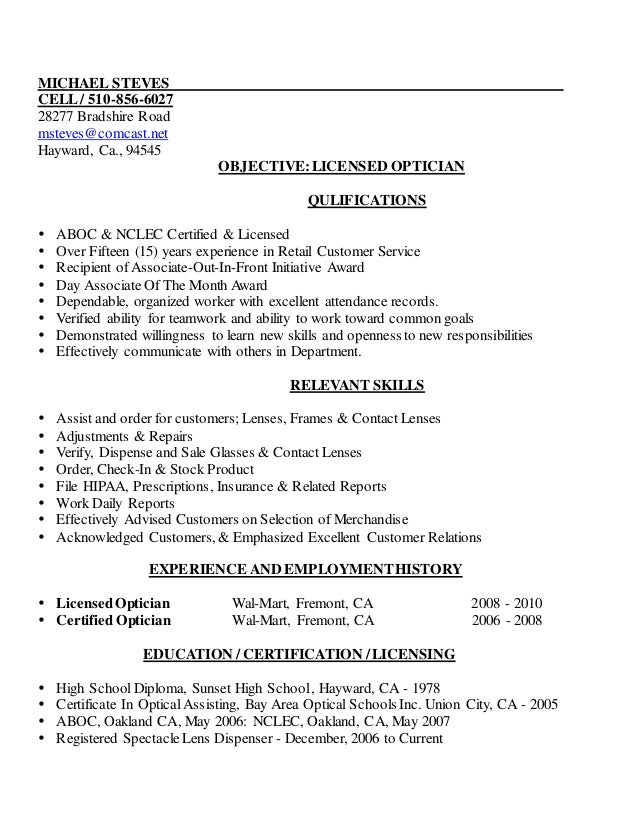 Mike's Licensed Optician Resume - 2013