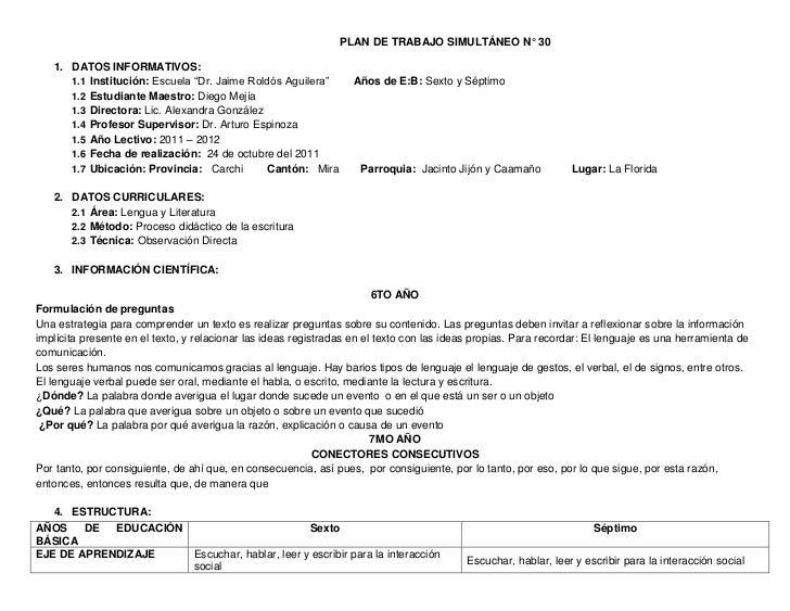 """PLAN DE TRABAJO SIMULTÁNEO N° 30   1. DATOS INFORMATIVOS:      1.1 Institución: Escuela """"Dr. Jaime Roldós Aguilera""""       ..."""