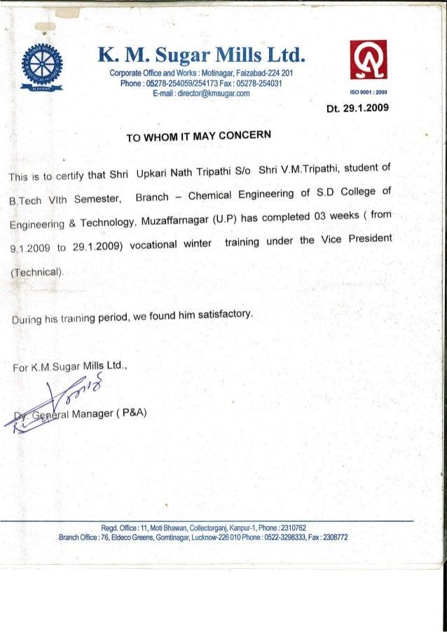 Certificate Of Project At Km Sugar Mills Ltd